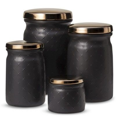 Thrshd Canister With Metallic Lid Blck Target Grayson Kitchen