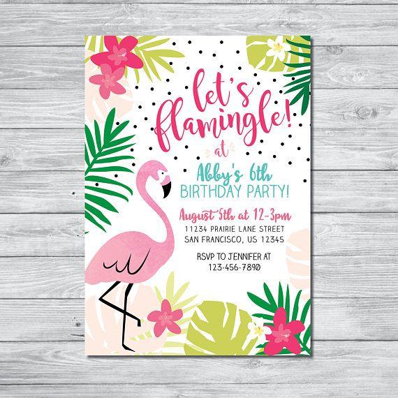 Flamingo Birthday Invitation Let S Flamingle Birthday Invite Girls Birthday Part Carte Invitation Anniversaire Deco Fete Anniversaire Invitation Anniversaire
