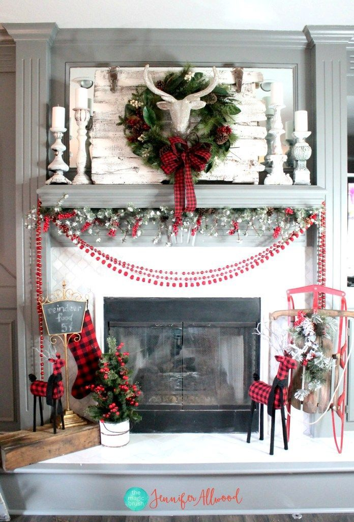 Christmas Mantel Decorating Ideas with Plaid  Glitter Christmas