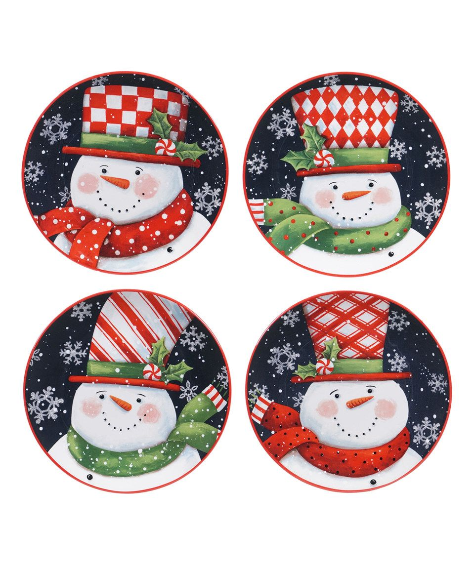 Another great find on #zulily! Candy Cane Snowman Dessert Plate ...