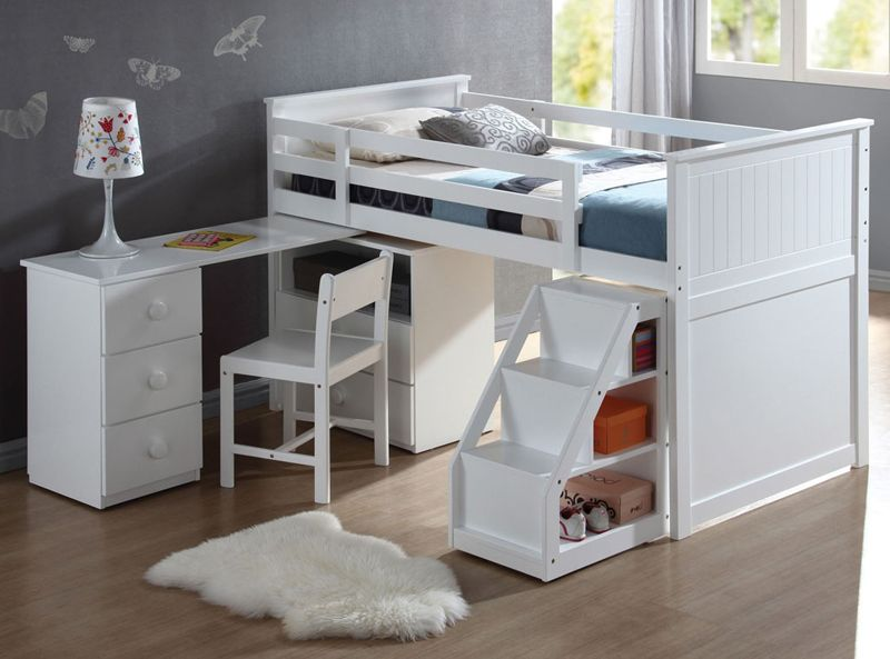 Children\'s White Wood Pull Out Desk Stairway Staircase Chest Low ...