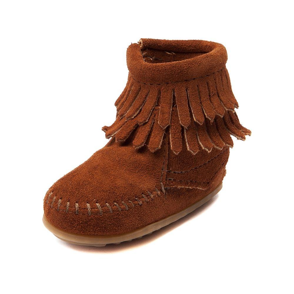 Little Girl 1, Dark Brown Western Fringe Girls Ankle Boots Moccasins Booties Toddler