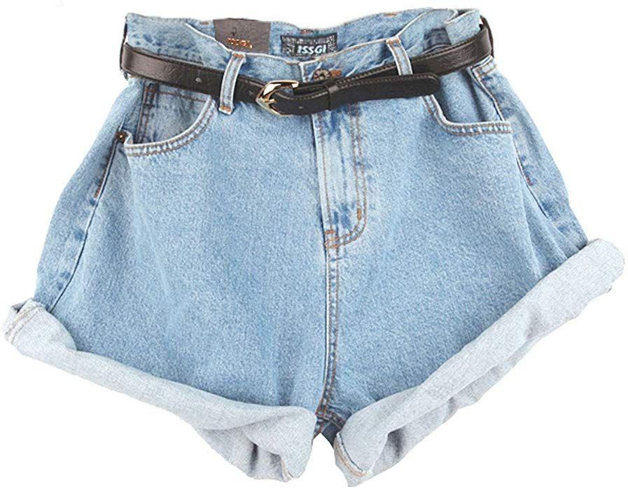 Frauen Damen Vintage Blue Ausgefranste Lose Lockere Baggy Shorts