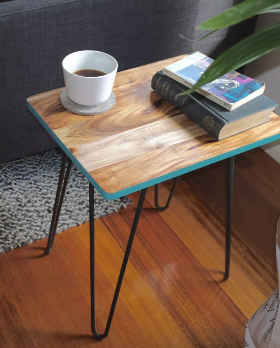 Side table with hairpin legs H o m e Pinterest