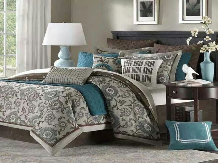 Best Teal Brown And White Bedding Home Bedroom Home Bedroom 400 x 300