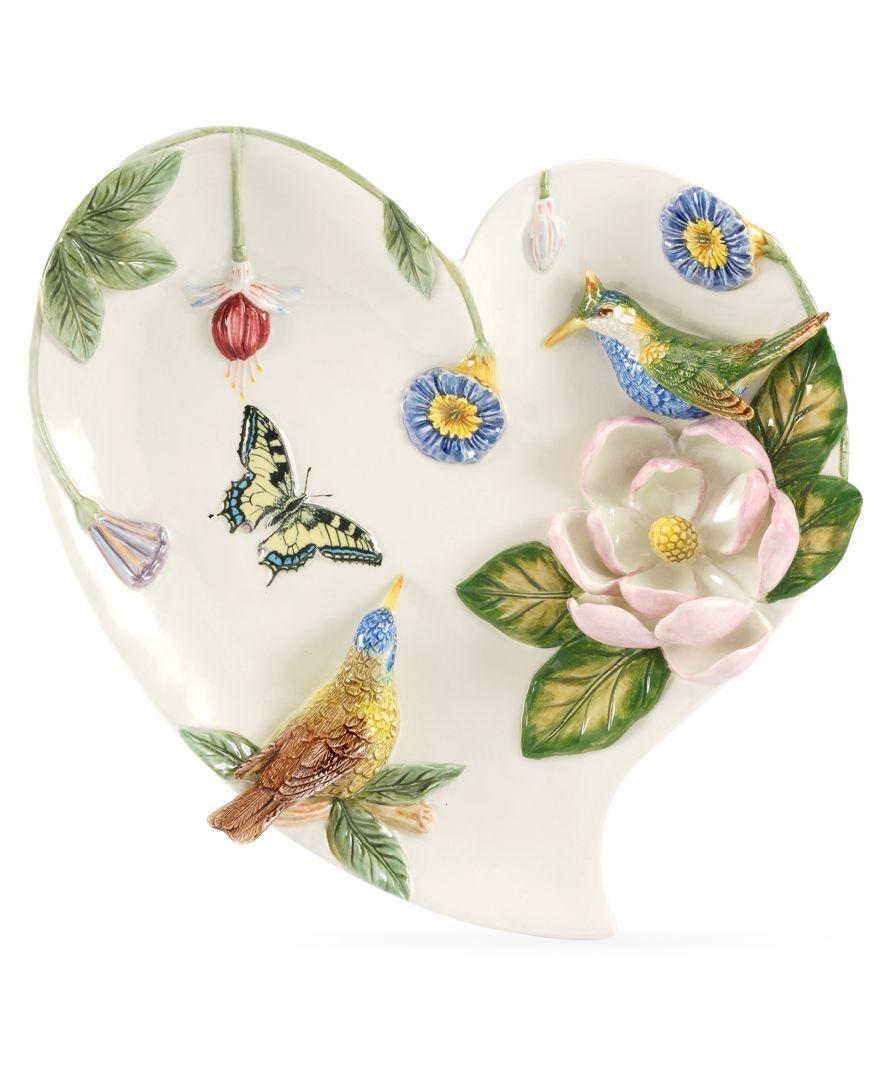 Closeout Portmeirion Serveware Botanic Hummingbird Figural Heart