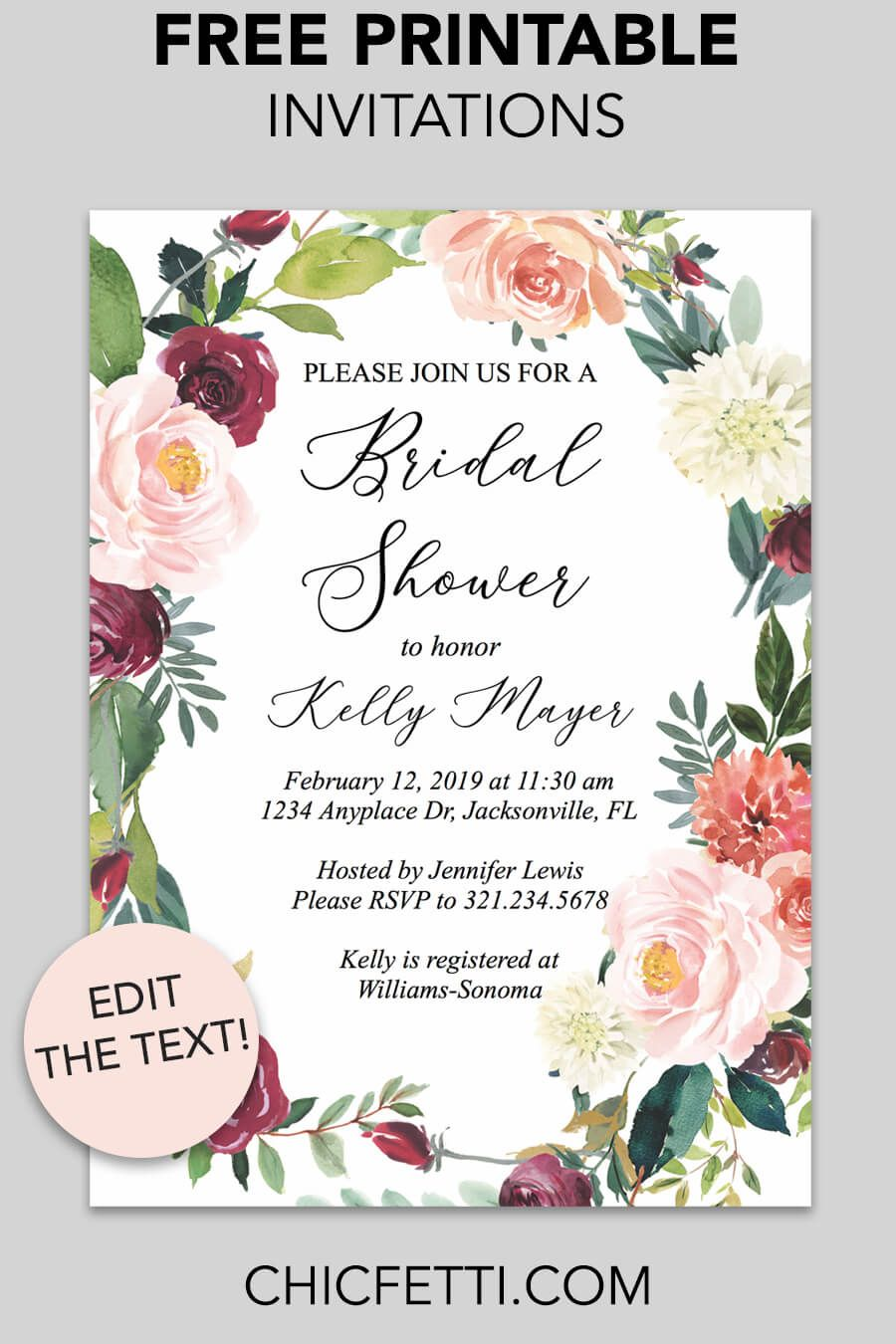 Bridal Shower Printable Invitation Fall Floral Wreath Chicfetti Bridal Shower Invitations Printable Free Bridal Shower Invitations Printable Bridal Shower Invitations Free