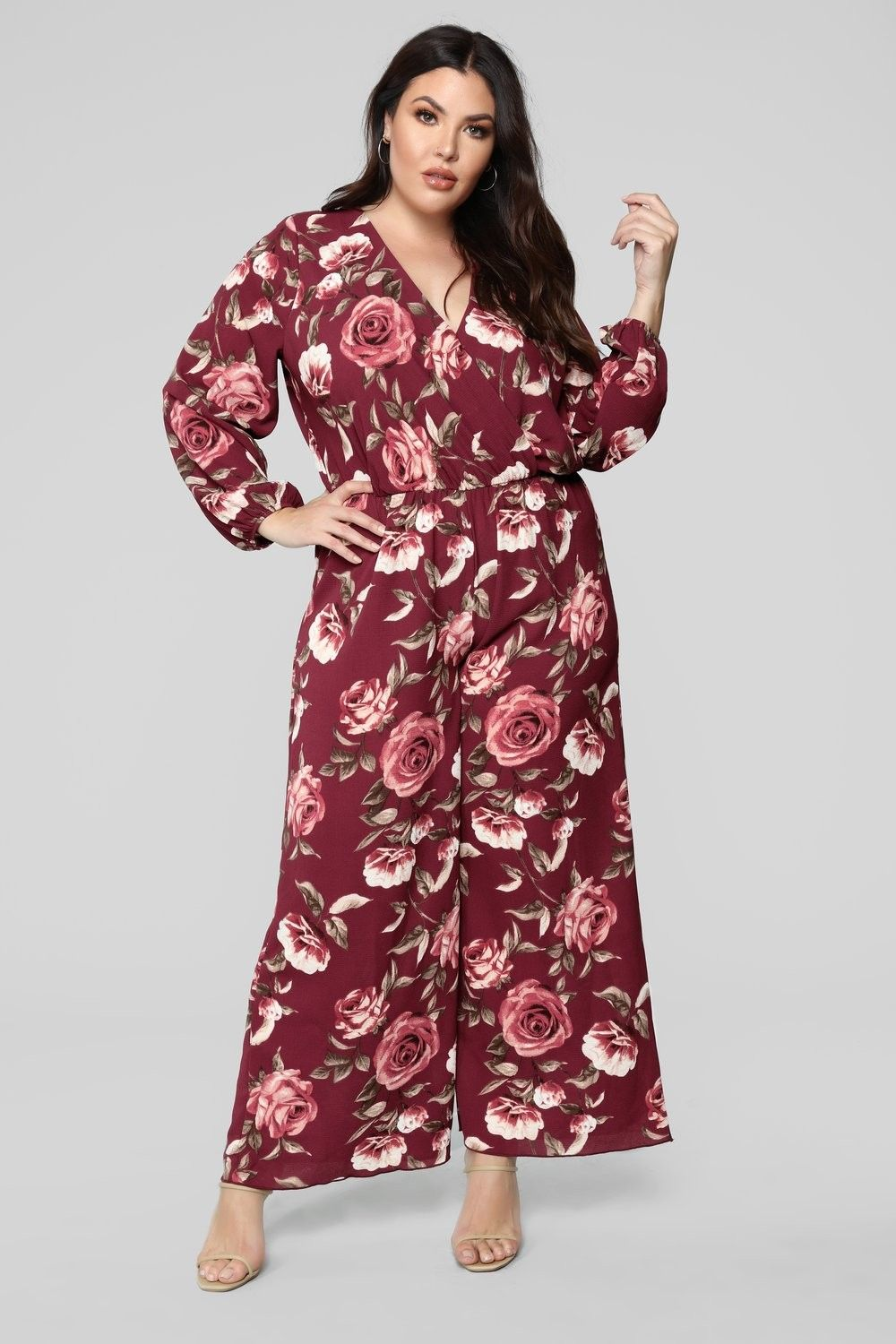 aad0fc573b Plus Size Smell The Roses Long Sleeve Jumpsuit - Burgundy  39.99  ootd   style  fashion  streetstyle  fashionable  outfitpost  trendy  beauty  moda   plussize ...