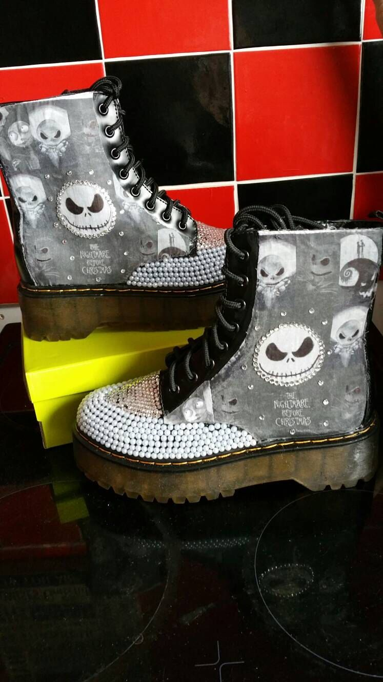 The nightmare before Christmas Goth Boots Bling Jack Skellington ...