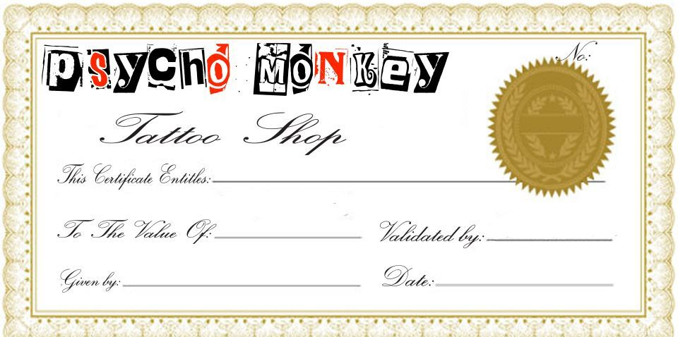 New Tattoo Gift Certificate Template Coolest Designs In 2021 Certificate Template Gift Certificate Template Gift Certificate Template Free