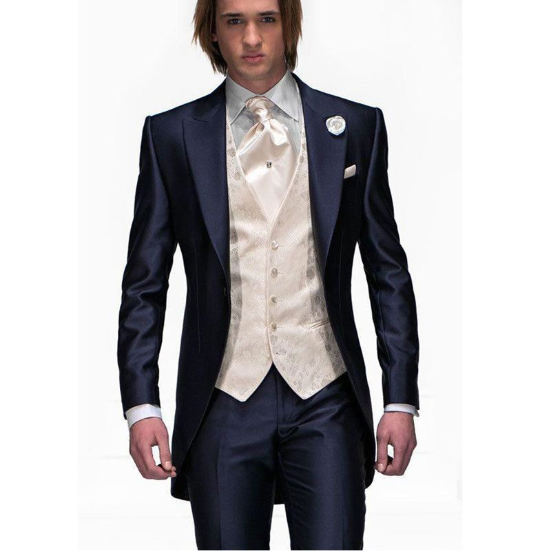 2017 Custom Made Men Slim Fits Suits Tuxedos Grooms Suits Long ...