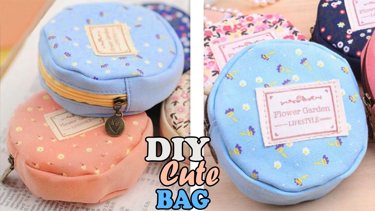 Diy Textile Round Pouch Bag Cute Zipper Mini Bag Tutorial Youtube Diy Crafts Tv Diy Pouch Bag Bags Tutorial