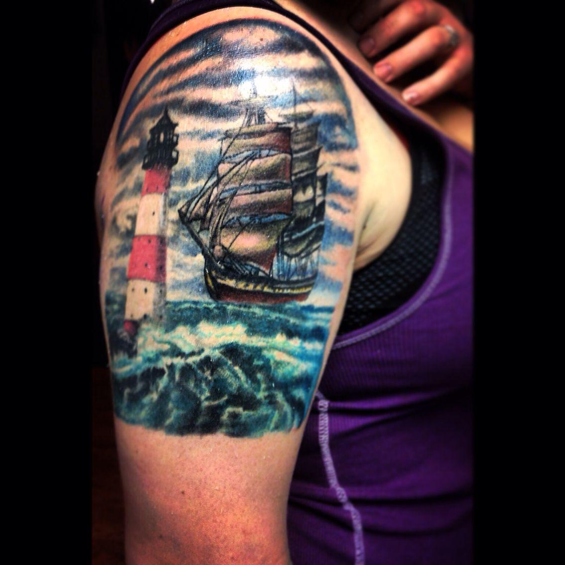 Tattoos Ocean Tattoos: Light House Tattoo Ship Tattoo Sailboat Tattoo Wave Tattoo