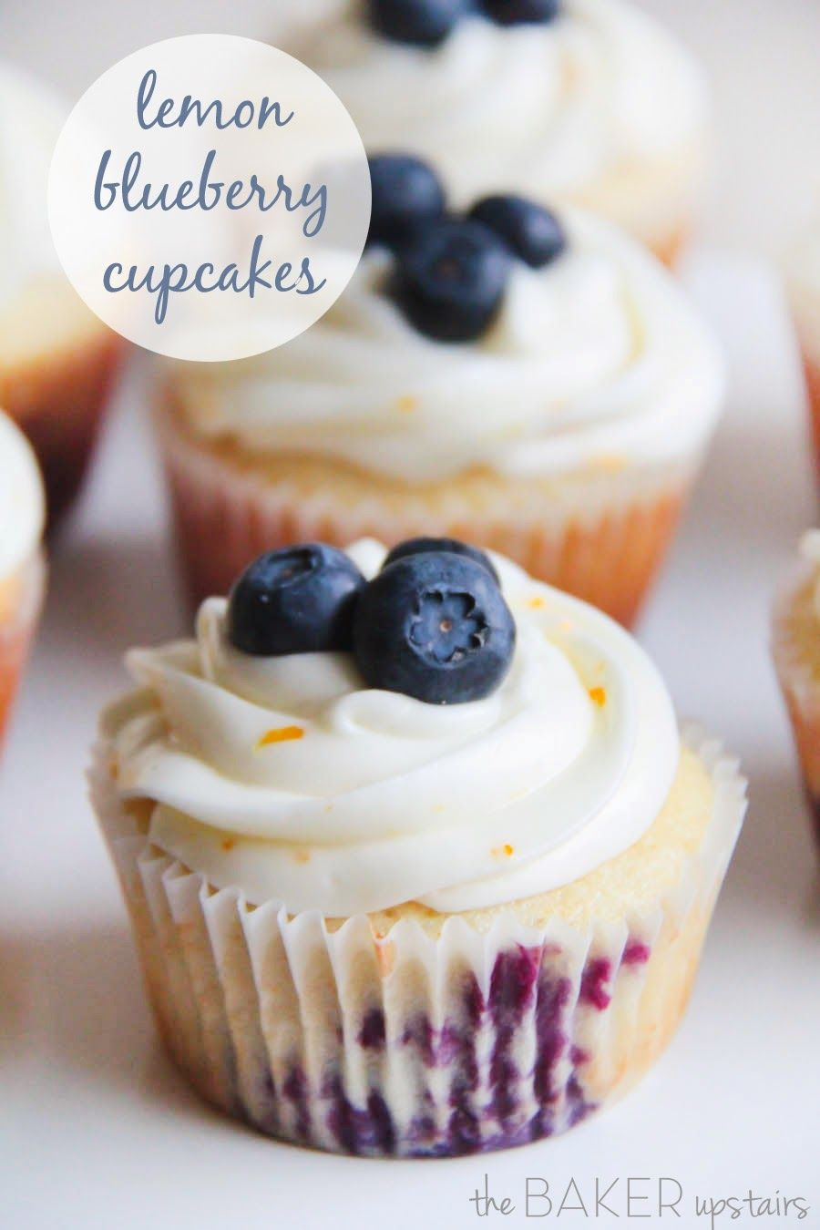 Lemon blueberry cupcakes from The Baker Upstairs. These cupcakes are gorgeous and delicious too! www.thebakerupstairs.com