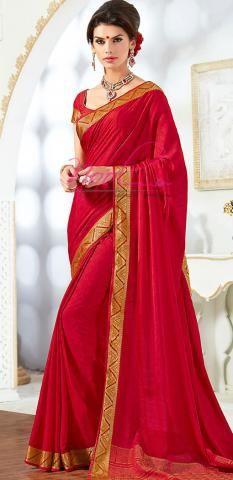 dec056f37b Italian Crepe Sarees Red Synthetic Plain Best Price BZ5061D77180 ...