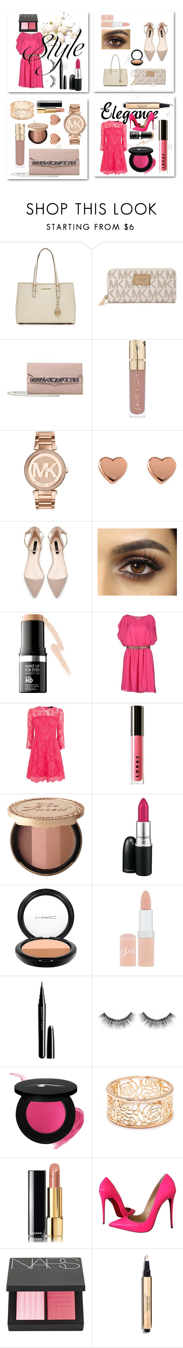 """""""nude & hot pink"""" by sweetangel29 ❤ liked on Polyvore featuring beauty, MICHAEL Michael Kors, Michael Kors, Smith & Cult, Ted Baker, MAKE UP FOR EVER, Karen Millen, LORAC, Too Faced Cosmetics and MAC Cosmetics"""