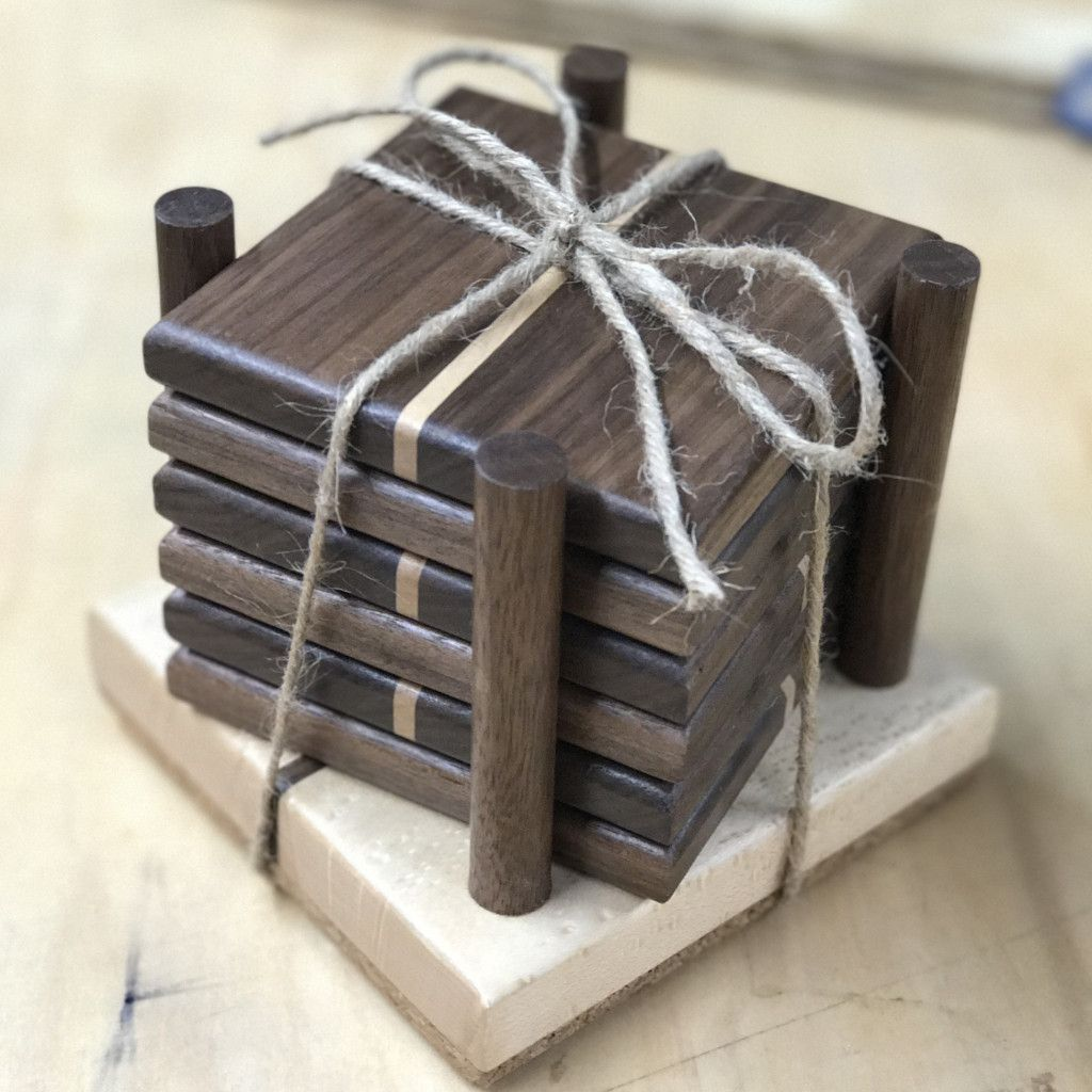 Wooden Coasters with Holder | Coasters, Woodworking and ...
