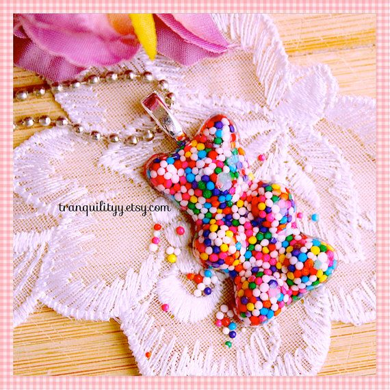 Gummy Bear Necklace Candy Sprinkle Resin Big Gummy by tranquilityy