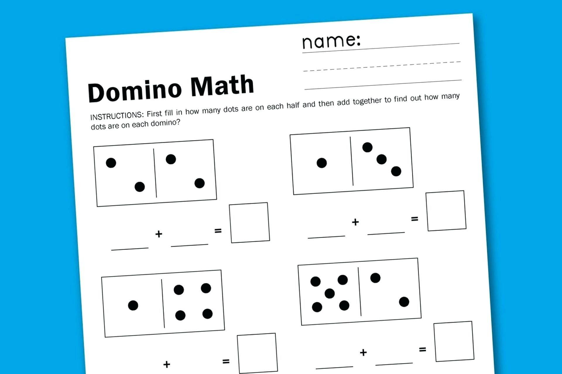 5 Free Math Worksheets First Grade 1 Addition Number Lines math worksheets  domino addition fr...   Free math worksheets [ 1280 x 1920 Pixel ]