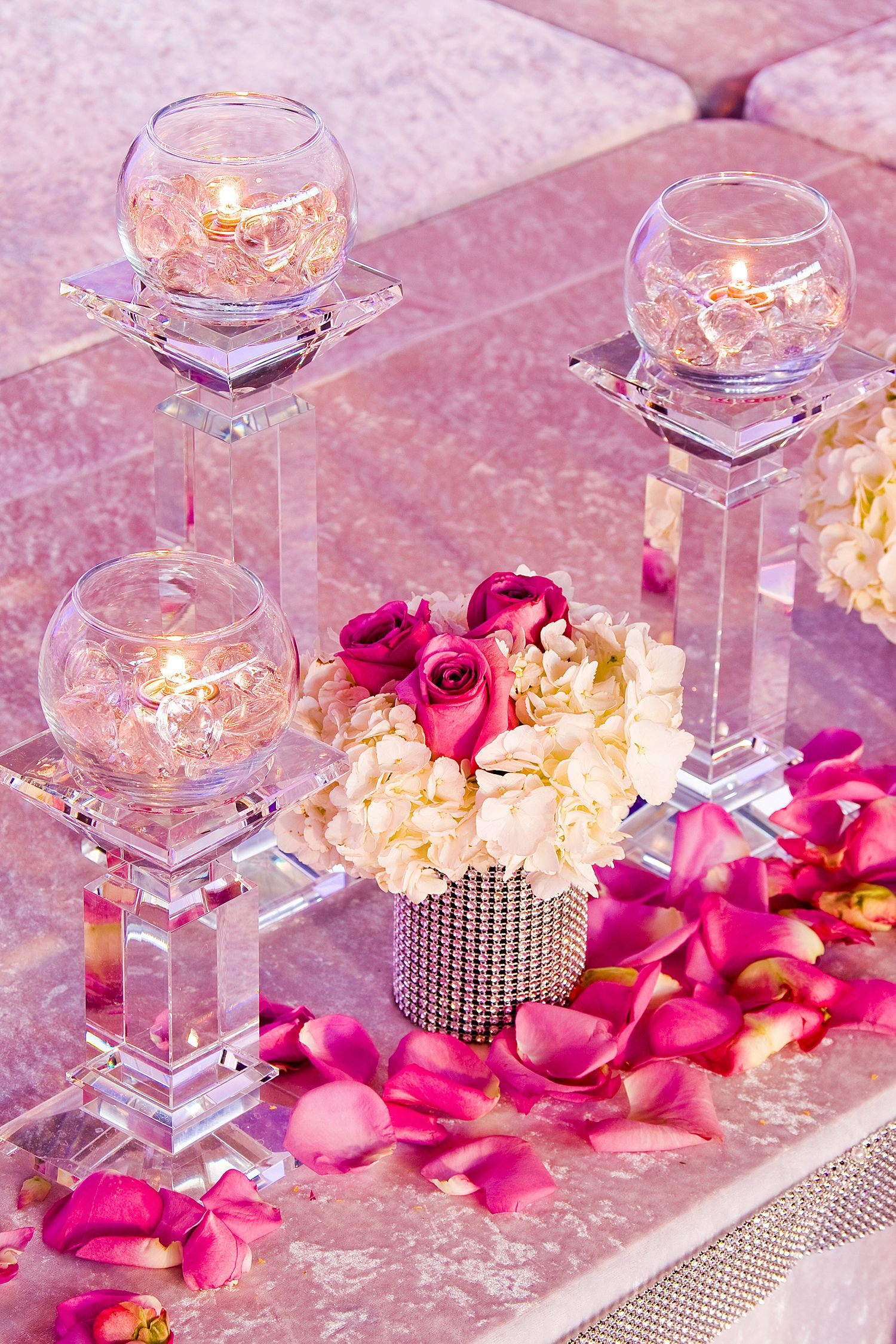 Pink themed party flowers with candle accent designing for Candle design for debut