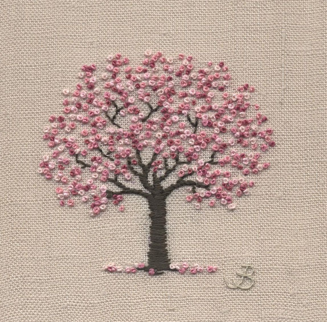 Jo Butcher Embroidery Artist Cherry Blossom Simple Embroidery Crewel Embroidery Kits Hardanger Embroidery