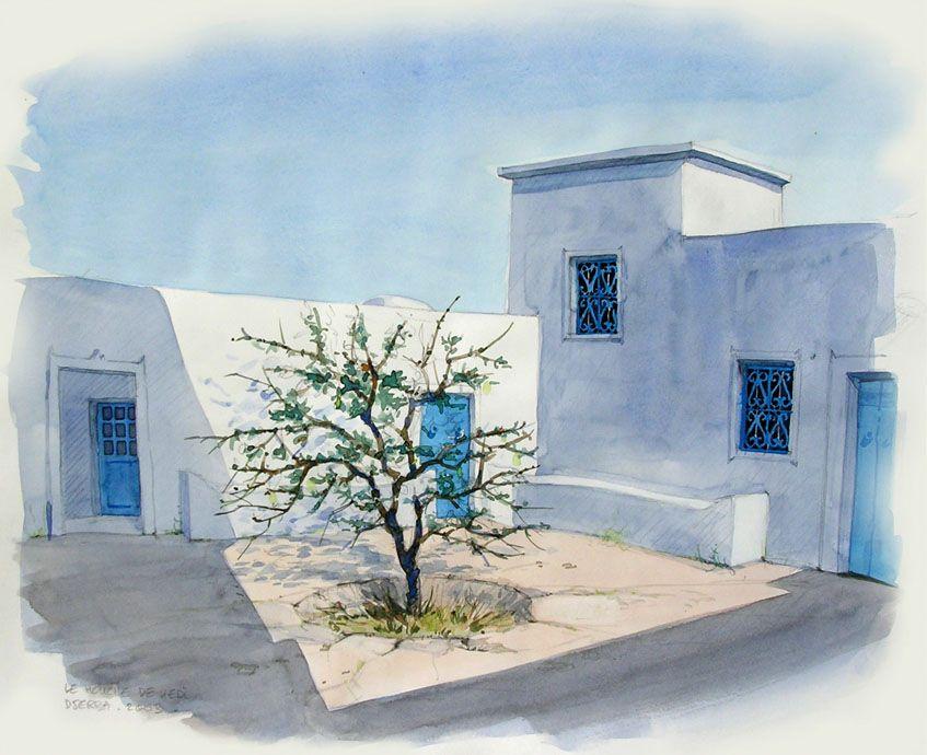 Aquarelles Thierry Duval Paysage Tunisien Aquarelle Peinture