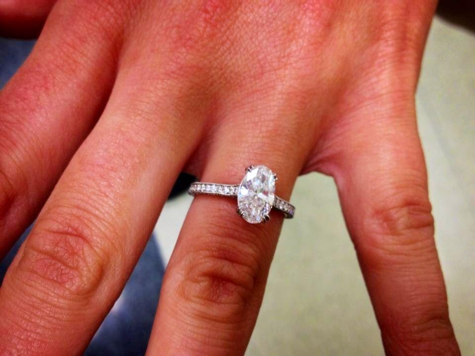 LOVE my ring!!!!! 1.3 carat oval diamond with 1carat in diamonds