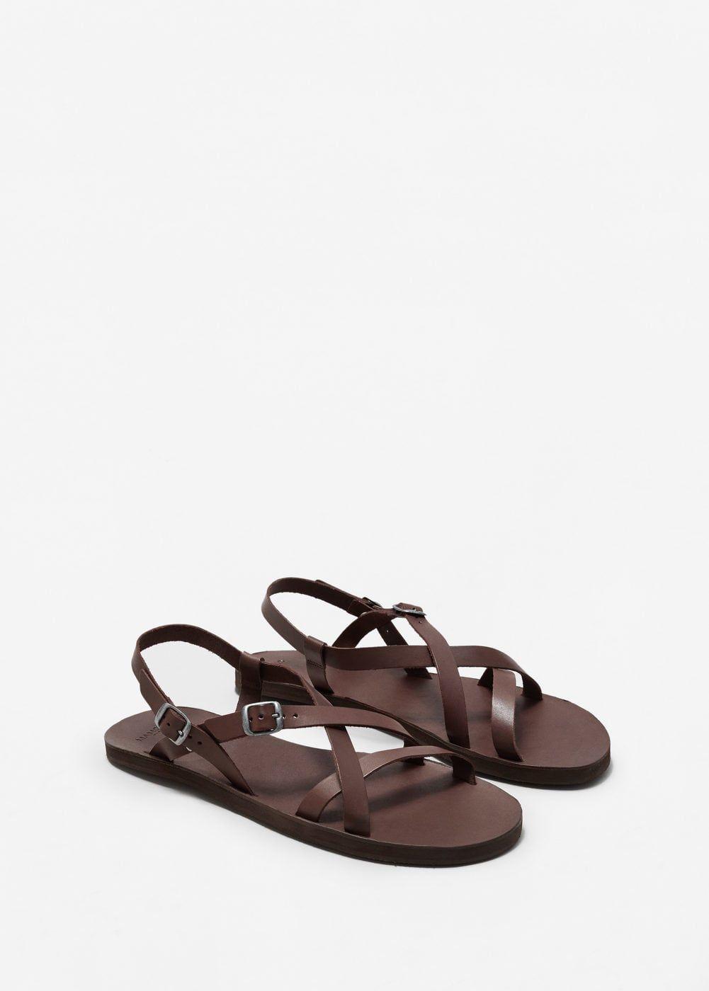 Sandalia piel tiras | MANGO MAN