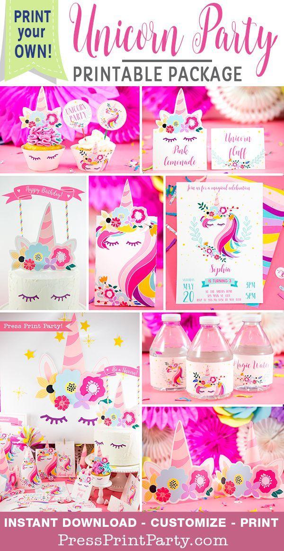 Unicorn Birthday Party Printable Set - Press Print Party !