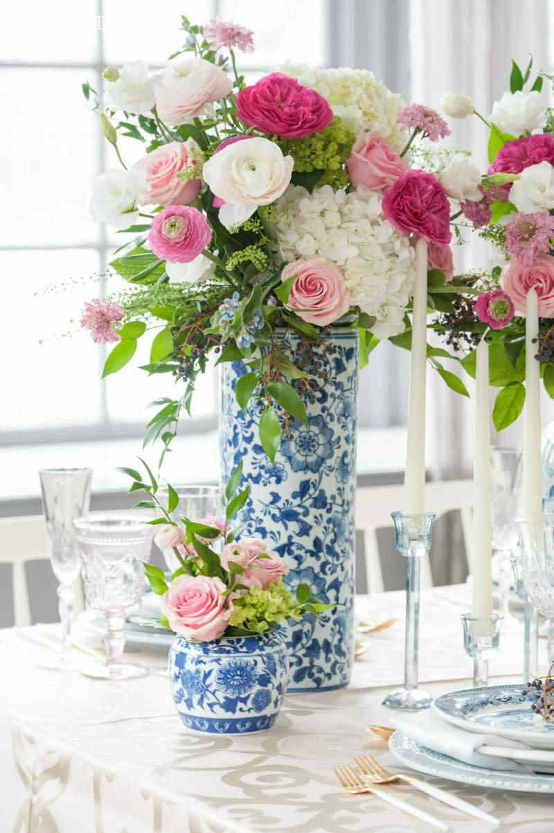 Traditional modern chinese wedding ideas pinterest white blue and white chinese vases with large pink and white flowers mightylinksfo