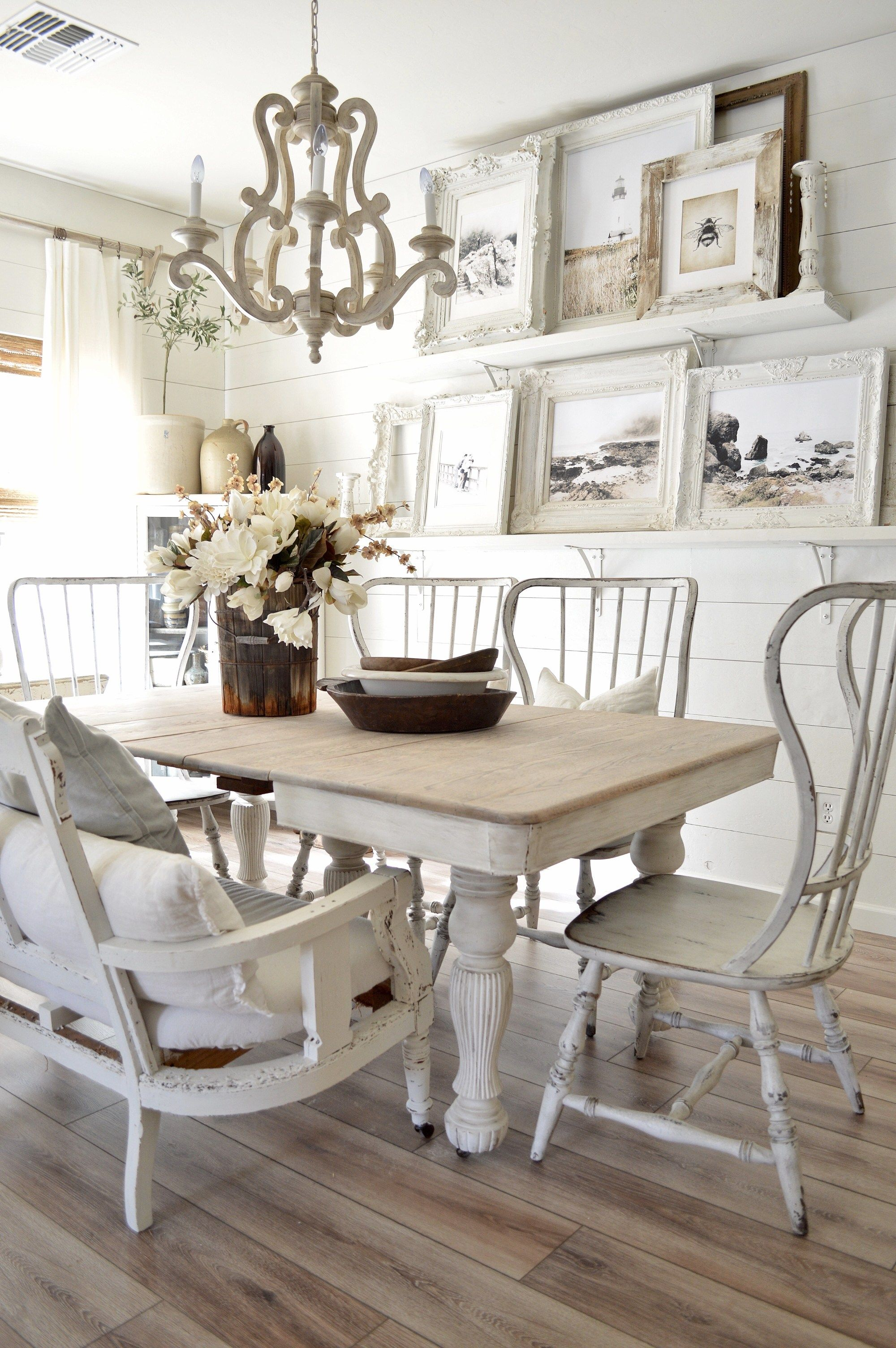 Diy Curtain Rods Shabby Chic Dining Room Farmhouse Dining Room