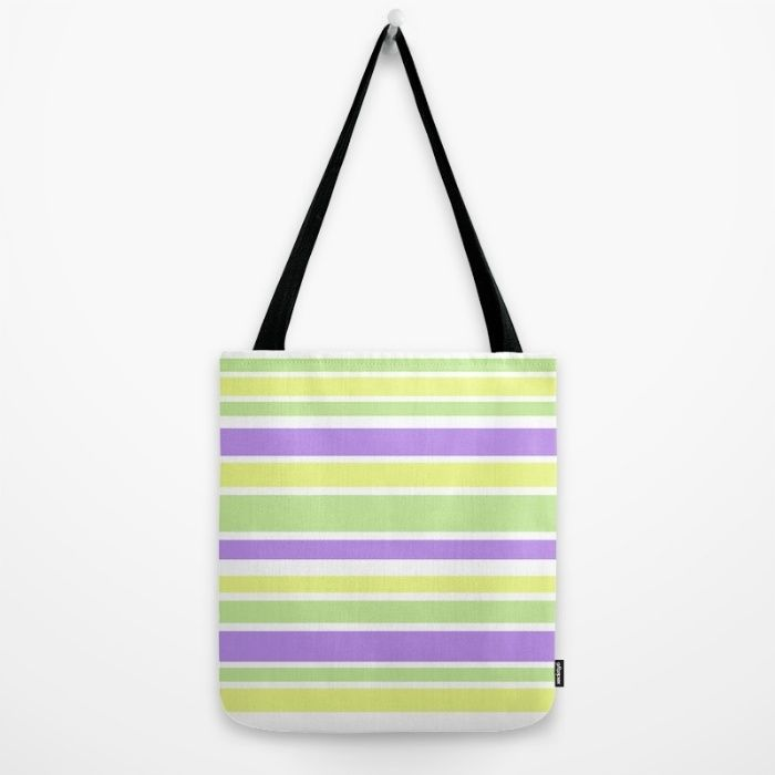 Tote Bag Bright Yellow Purple Green Stripes 3 sizes #society6 #accessories #trends