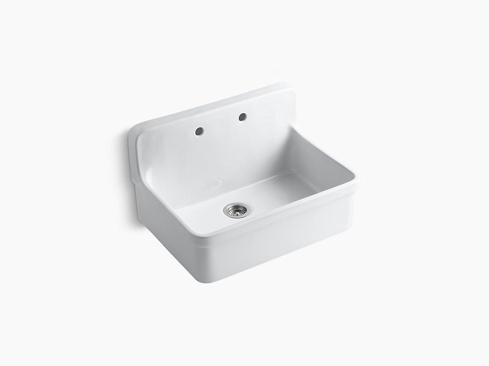 Kohler Gilford K 12700 0 White 30 X 22 X 9 1 2 Wall Mount Top Mount Single Bowl Kitchen Sink Showro Single Bowl Kitchen Sink Apron Front Kitchen Sink Sink