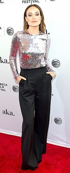 Shine bright like a diamond! The actress teamed a dazzling sequined top with wide-legged pants and J/Hadley jewels at the world premiere of Meadowland