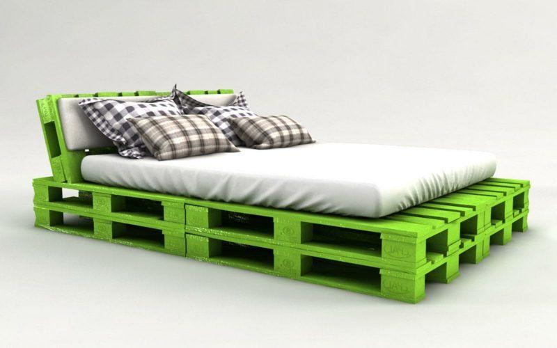 Green Painted Pallet Bed Diy Pallet Bed Pallet Diy Bed Frame