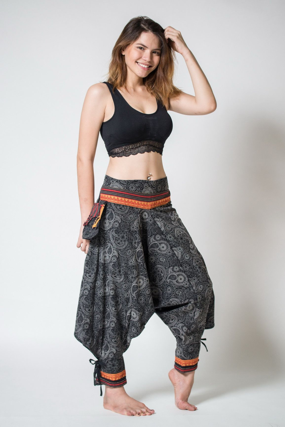 Paisley Thai Hill Tribe Fabric Women's Harem Pants with ...