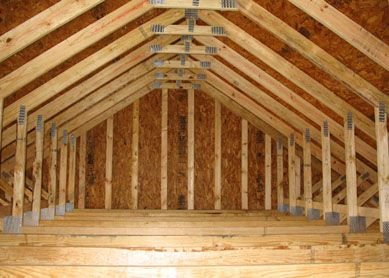 Engineered attic trusses house for Bonus room truss design