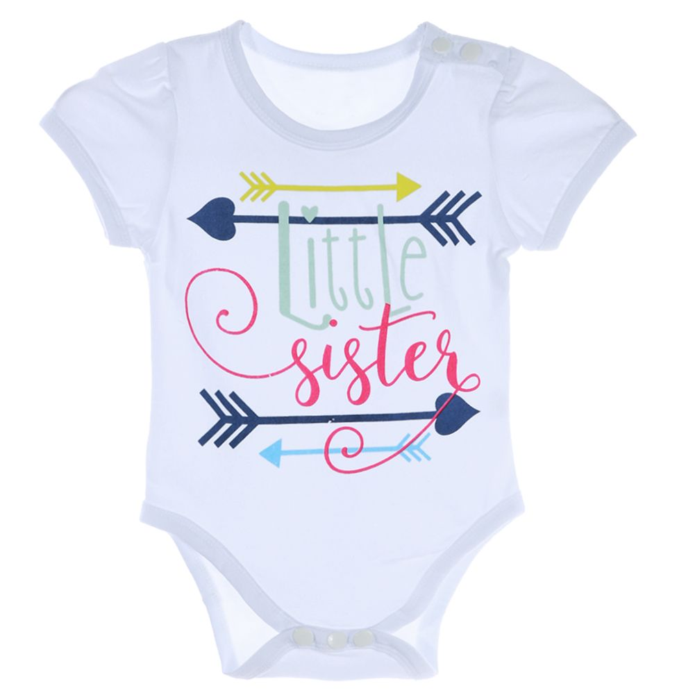 Infant Baby Boys Girls Letter Arrow Short Sleeves Body Suit Print Romper Jumpsuit Outfits