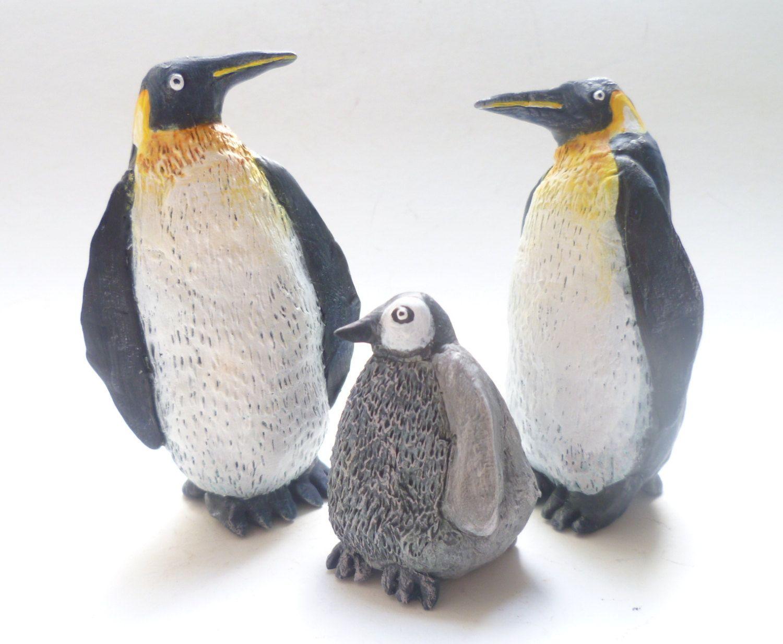 Penguin Family - Penguin Sculptures, Bird Figurines, Collectible Animal Art, Bird Cake-topper, Penguin Decor, Bird Art, Baby Animal, Family by AlanJamesdesigns on Etsy