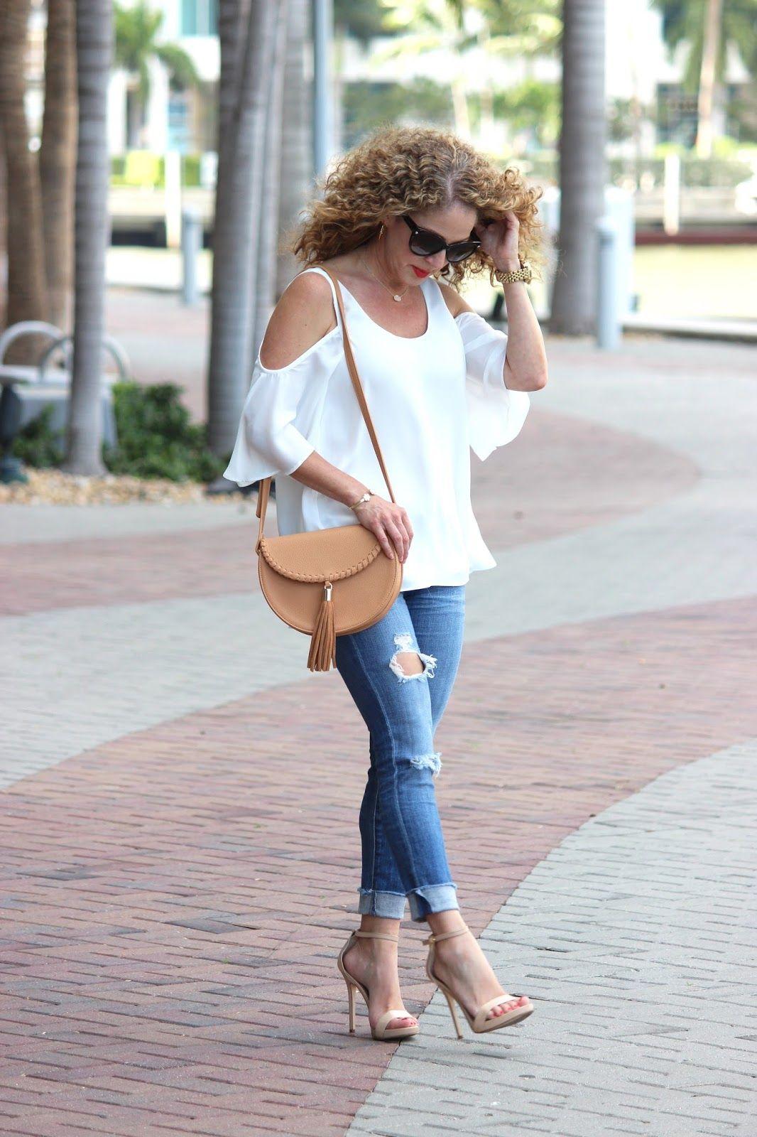 e957bd173c White cutout Shoulder Top + Distressed Skinny Jeans + Tan Fringe Crossboday  Bag | Girl in a Hot City: Tasseled
