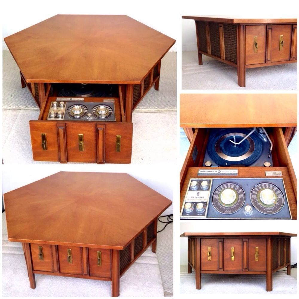 Vintage Drexel Table & Record Cabinet Motorola Console