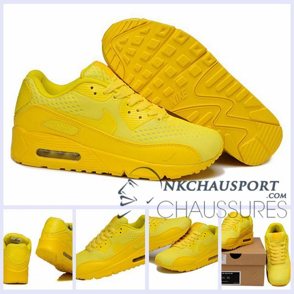 size 40 4a492 08463 Nike Air Max 90   Meilleur Chaussures Running Homme Mesh Flamme Jaune
