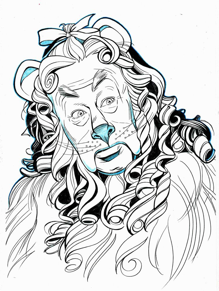 Wizard Of Oz Drawings Of Characters Oz Cowardly Lion Portrait