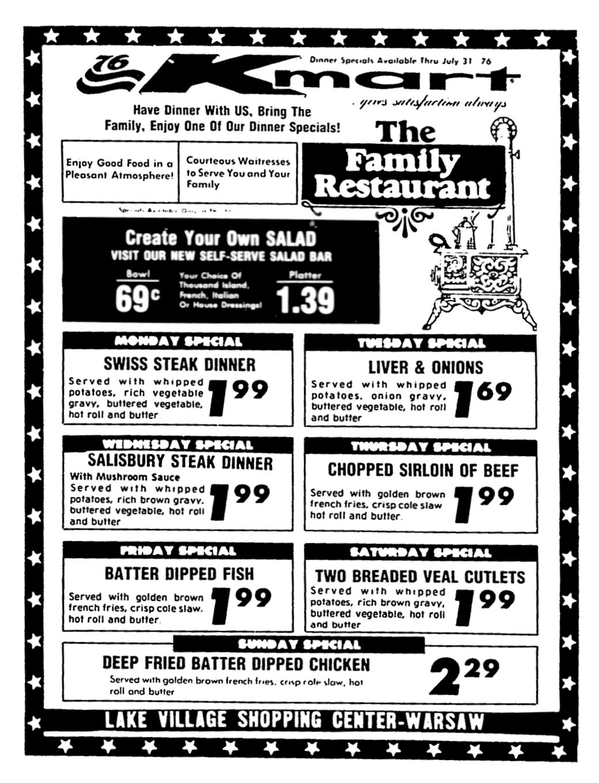Kmart Restaurant Grill July 1976 Special Dinner