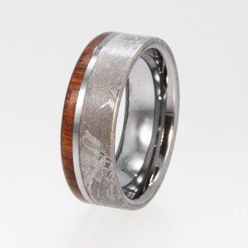 Meteorite Ring Mens Tungsten Wedding Rings With Ironwood Wood Inlay