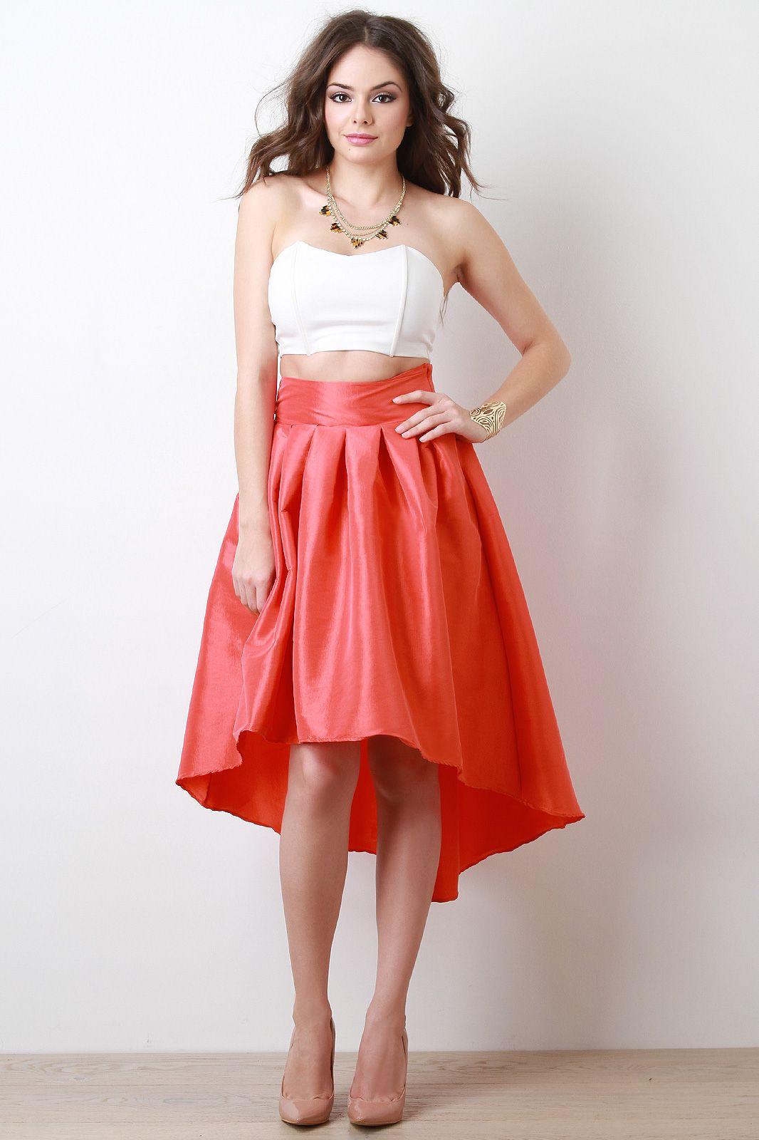 Taffeta pleated highlow skirt my dream closet pinterest high