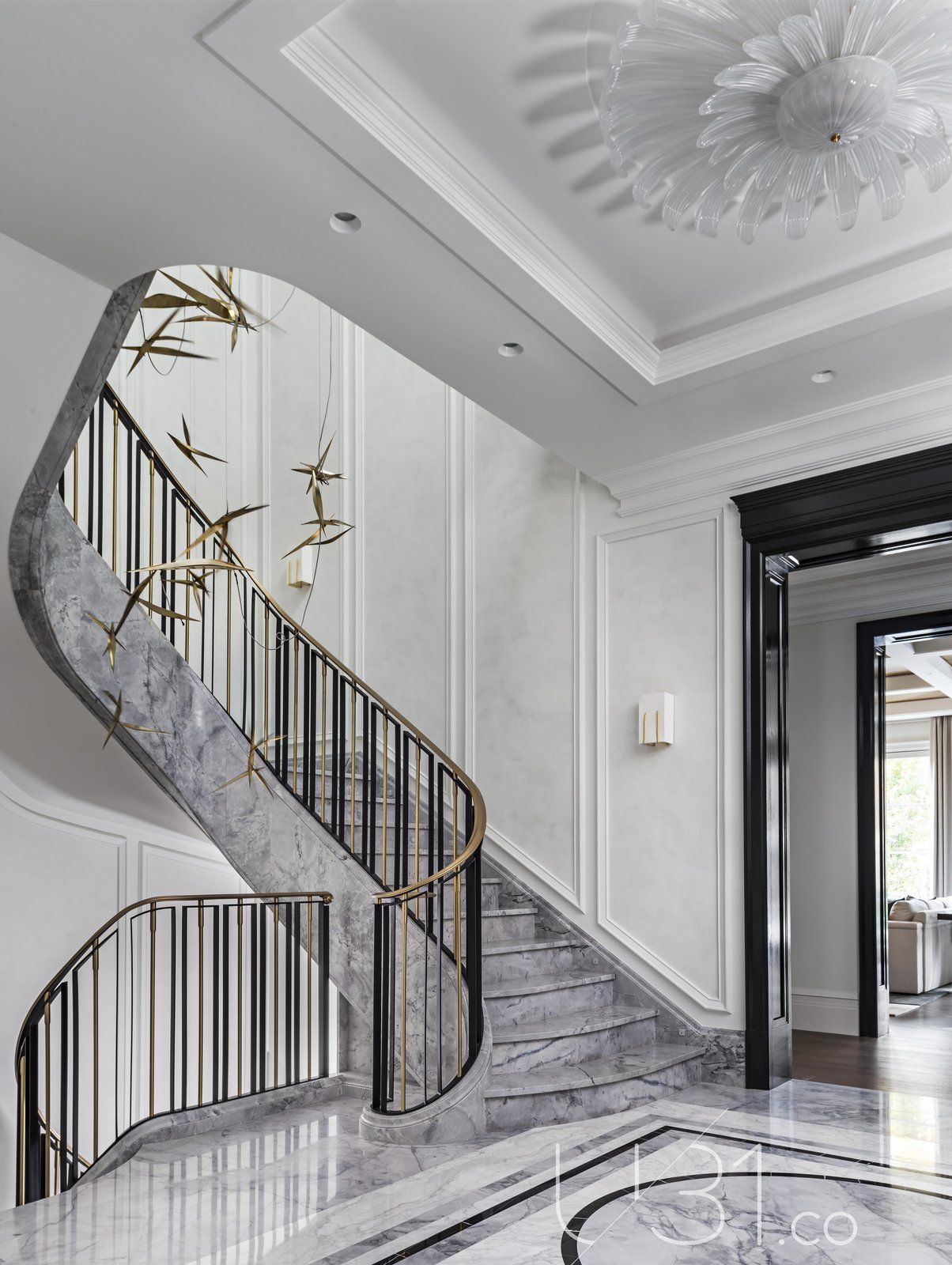 Hallway And Marble Floor Foyer Photo 4 Of 15 In Country Estate By U31 Design Interior Staircase Modern Staircase Stairs Design