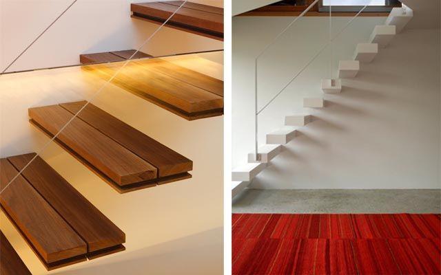 Escaleras modernas ideas para decorar con escaleras voladas casas estilo clasio escaleras - Escaleras de madera modernas ...