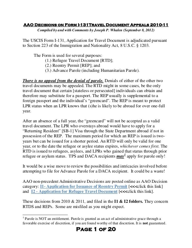 Aao Decisions On Form I131 Travel Document Appeals 201011 By Bigjoe5