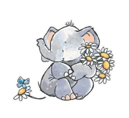Adorable Elephant With Daisies Counted Cross Stitch Pattern Chart Ebay In 2021 Penny Black Stamps Penny Black Elephant Art